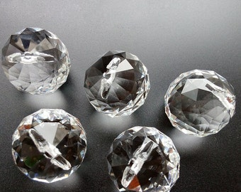 20mm / 30mm /40mm Clear Faceted Crystal Ball Prisms Replacement Chandelier Parts Suncatcher Accessories 5PCS