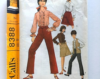 Vintage Sewing Pattern, Women's 60's Uncut, McCall's 8388, Blouse, Skirt, Pants, Vest (XS)