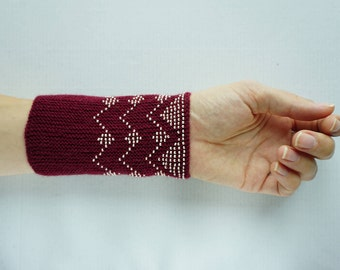 Maroon and cream beaded wrist warmers/ knitted wristlets with beads / woollen cuffs – ready to ship
