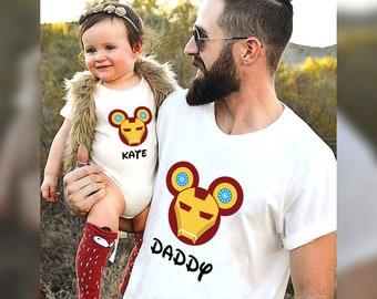 Disney Iron Man Mickey Mouse Ears Matching Family T-Shirt