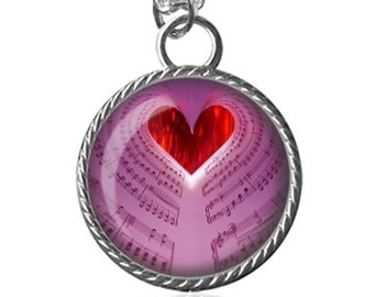 Music Lovers Necklace, Music Heart Necklace, Sheet Music Image Pendant Key Chain Handmade