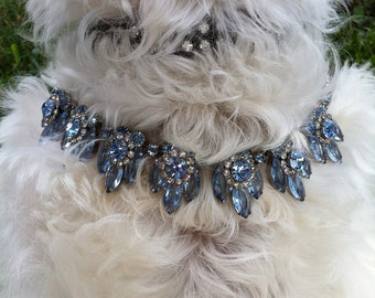 Stunning Vintage 'Hues of Blue' Rhinestone Necklace 1960s