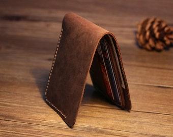 Bifold Men's Leather Wallet Minimalist Billfold Leather Wallets Best Birthday Presents Groomsmen Gift Leather Card Holder Wallet-R030-2