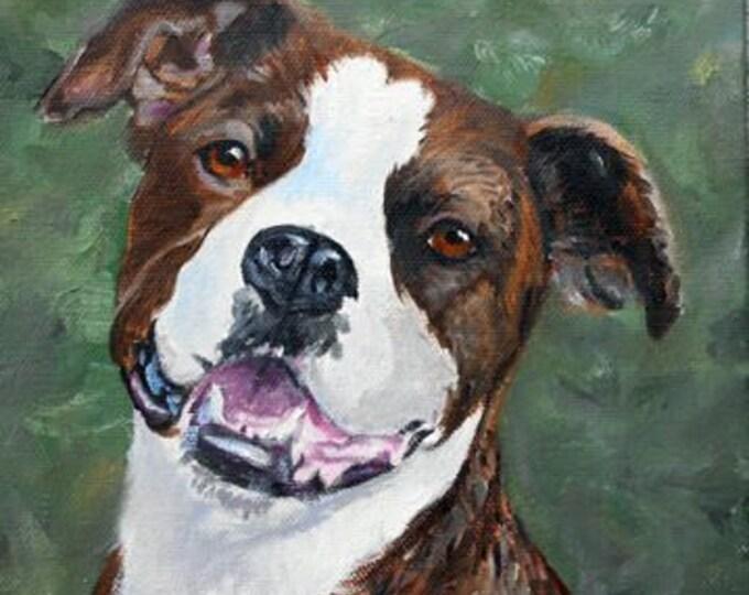 Brindle Pitbull Portrait Oil Painting, Pit Bull Portrait Painter, Custom Pet Portraits