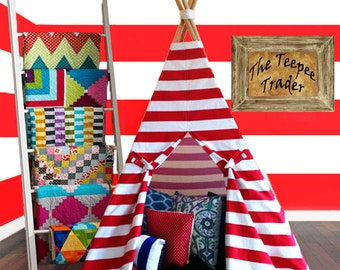 Teepee: Red and White Striped Childrens Tepee-Birthday Gift for Kids, Baby Nursery, Home Decore, Fort, Playhouse, Tipi, Tee Pee, Tent, Prop