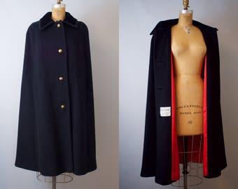 Vintage Black Wool Cape / Black Cape / 1960s Black Wool Cape