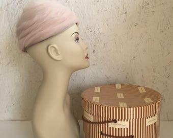 Vintage 60s Beehive Hat Net Wedding Turban Hat with Hat Box I. Magnin & Co.