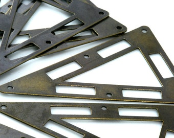 triangle tag 5 hole connector 20 pcs Antique Brass 50x33 mm Charms ,Findings 794AB-40
