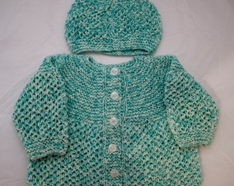 Handknitted Girls Cardigan And Hat for 9-12 Month Old.