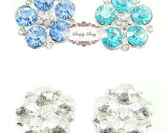 5pcs RD260 Sky Blue Rhinestone Metal Flatback Embellishment Button DIY wedding bridal crystal bouquet flowers hair