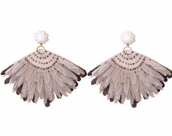 Feather Statement Earrings Bohemian Earrings Fan Earrings Beige Earrings Bridesmaid Earrings Wedding Jewelry Fashion Earrings HELEN