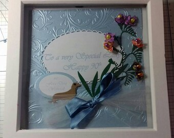 Happy, 90th, Birthday, Personal message, and freesias, (any flower) Dog,Pale Blue, embossed backing and fonts. Large Box Frame white 23x23cm