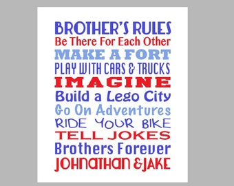 Brothers Art - Brothers Room Decor - Brothers Subway Art - Boys Bedroom Art - Little Boy Room Decor - Christening Gift *** DIGITAL FILE***
