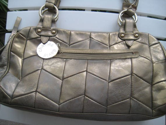 Gold Leather Slouch Bag by Charles David