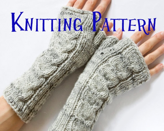 Instant Download Pdf Knitting Pattern Cabled Fingerless