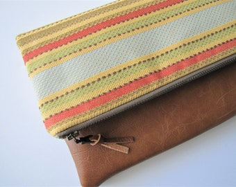 Foldover Clutch, Vegan Leather Fold Over Clutch Bag, Boho Chic Clutch Purse, Striped Clutch, Gift For Her, Mothers Day Gift