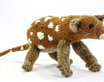 KNITTING PATTERN, Toy Knitting Pattern, Australian Native Cat, Quoll, Wildlife Toy, Soft Toy, Knitted Softie Pattern, Knit Animal Pattern
