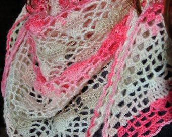 Heart crochet mohair shawl and premium acrylic, scarf, scarf, scarf, Valentine, mother's day, engagement gift, white rose
