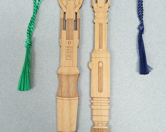 TWO PACK - Sonic Screwdriver Bookmarks with Tassel - Laser Engraved Alder Wood - Doctor Who Book Mark
