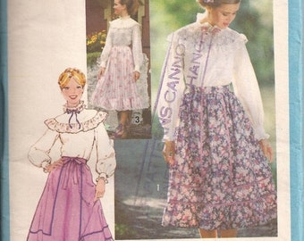ON SALE 1970's Sewing Pattern - Simplicity 8442 Yoked shirt and peasant skirt Size 10 Uncut, Factory Folded