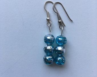 clear blue/silver earrings