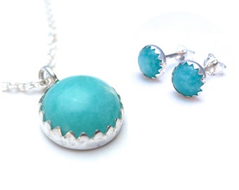 Amazonite Necklace and Stud Earrings Set, Jewlery Set for Her, Matching Necklace Earrings, Gift for Her