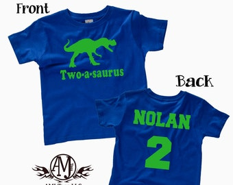 Dinosaur birthday shirt for kids, personalized t-rex birthday party shirt, front and back custom dinosaur shirt