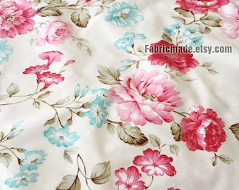 Large Pink Peony Floral Cotton Fabric on Off White, Shabby Chic Fabric Large Flower Cotton- 1/2 yard