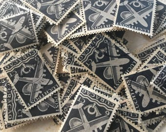 12 Blue Airmail Postage stamps. Vintage, rare from the 50's Great for your Artwork, Snailmail, Analog Life