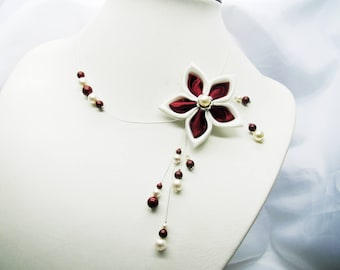 Bridal ivory and Burgundy or pink and white flower satin beads and swarovski crystal renaissance, asymmetrical necklace.