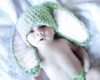 5T to Teen Kids Bunny Hat, Lime Crochet Kids Hat, Unisex Childrens Bunny Beanie, Green White Bunny Hat, Flopsy Bunny Ear Prop   Baby Gift