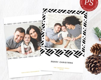 Holiday Christmas Photo Card Template - Photographer Photoshop Template - Christmas Card - Modern Holiday Card - Photo Card - Modern Card