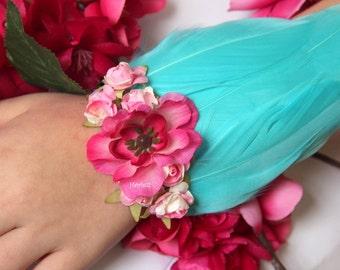 Aqua & pink floral wrist corsage, aqua corsage, feather corsage, corsages for prom, aqua bridesmaid corsage, turquoise corsage, Frieda Kahlo