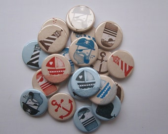 set of 20 1.25 inch pinback buttons, flatback buttons or hollowback buttons
