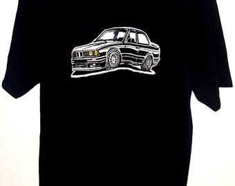 BMW E30, classic , Black tshirt, Size XL, Hand painted unique, awesome and one of a kind car t-shirt.