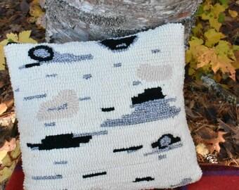 Hooked rug birch pillow - birchbark design - wool birchbark decor - modern farmhouse decor - Maine fiber artist - hand hooked pillow - linen