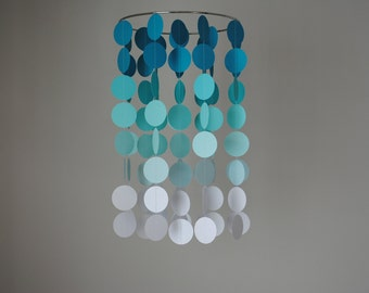 Teal/Turquoise/Aqua/White Ombre Chandelier Mobile // Nursery Mobile - Choose Your Colors