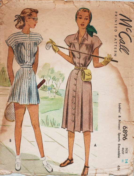 McCall 6896 / Vintage 1940s Sewing Pattern / Shorts Blouse Skirt ...