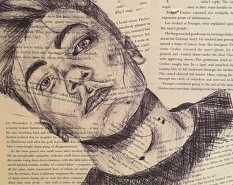 biro portrait sketch on aged book pages