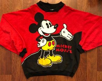 Vintage Disney Mickey Mouse Longsleeve Crewneck Polo Size Large Double Sided Large Print