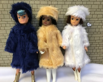 Children's range. Pink, Apricot honey, blue or white Fun Fur coats for Barbie, Sindy and Princess dolls.