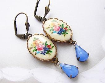 vintage cameo blue drop earrings, bridesmaid jewelry, drop earrings, vintage rose cameo vintage sapphire periwinkle blue bridesmaid earrings