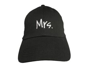 Mrs. -  New Style - Ball Cap (Black with White Stitching)