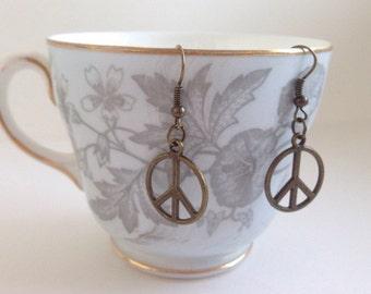 Peace Earrings - Peace Symbol Jewelry - Peace Symbol Earrings