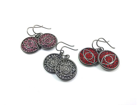 All seeing eye rhinestone dangle earrings - Hypoallergenic pure titanium and stainless steel