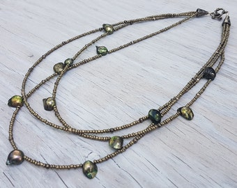 Olive Green Baroque Freshwater Pearl Multi Strand Necklace.  JemstoneZ  Necklace.