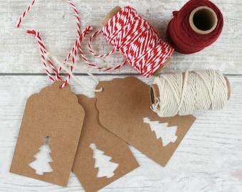 Christmas Gift Tags - Cute Handmade Holiday Tags - Vintage Christmas Kraft - Present Tags