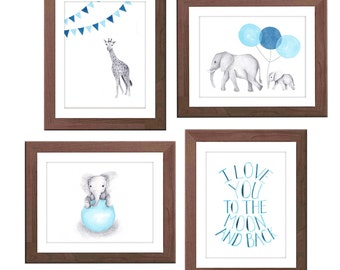 Navy Blue Nursery Art - Blue and Gray - Nursery Decor - Elephant and Giraffe - Baby Boy Nursery - Watercolour Nursery Prints - S434