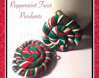 Peppermint Pendants, Two For One, Peppermint Jewelry, Red & Green, Polymer Clay, Kawaii Clay Charms, Clay Foods, Silver Charms, Matching Set