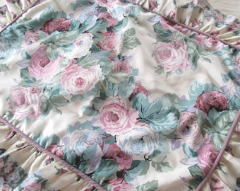 Vintage Pillow Sham with Ruffled Edges and Covered in Roses